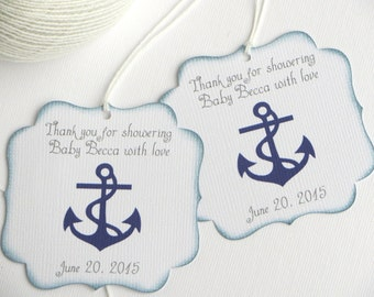 Nautical Baby Shower Favor Tags, Navy Blue Baby Shower Thank You Tags,  Personalized Favor