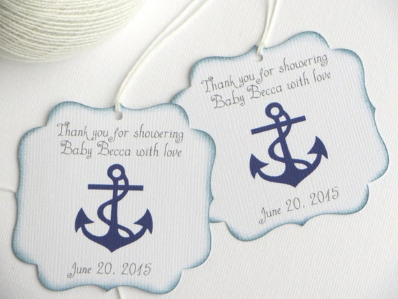 nautical baby shower favor tags navy blue baby shower thank you tags