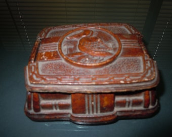 Vintage Art Deco Sirroco Wood Ornate box with Pelican depiction on lid
