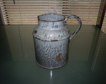 1930s grey enamel ware six inch handled cup or pitcher