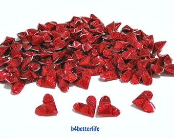 100pcs Red Color Medium size 3D Origami Hearts. 'LOVE'. (4D Glittering paper series).