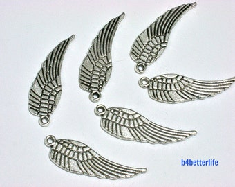 """Lot of 24pcs Antique Silver Tone """"Angel Wing"""" Metal Charms. #BC1133s."""