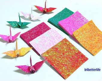 "108 Sheets 3"" x 3"" Assorted Colors DIY Chiyogami Yuzen Paper Folding Kit for Origami Cranes ""Tsuru"". (CY paper series). #CRK-45."
