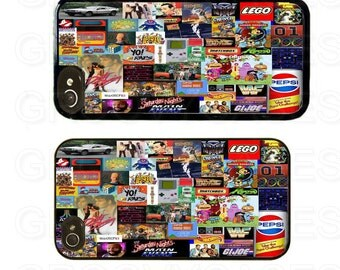iPhone 4 4s 5 5s 5c SE Case Rubber 80s Collage
