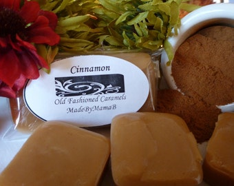 Cinnamon Caramels ~ Box of 32 extra creamy, old fashioned, homemade caramels