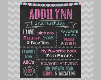 Birthday Chalkboard Sign, ANY Birthday, Chalkboard Birthday Poster, Personalized Digital File, Birthday Printable