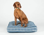 Blue and White Geometric Square Dog Bed by FILLYDOG