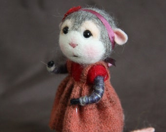 MADE TO ORDER~ Needle Felted Mouse Rose - Collectible soft sculpture