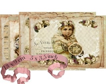 Shabby Postcards Instant Download digital collage sheet P170 postcard angels winter flowers rose