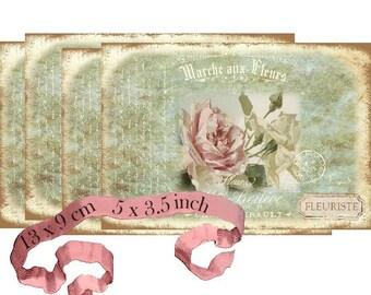 Marche aux Fleurs French Roses Flowers Instant Download digital collage sheet P134 Flower Market
