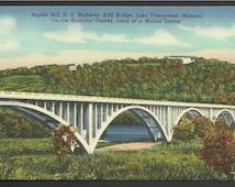 Vintage Linen Postcard Baptist Hill, Highway # 65 Bridge, Lake Taneycomo, Missouri   (950)