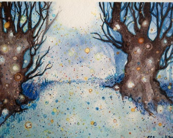 Magic Forest Original Watercolor Painting