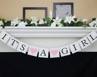 Its a girl banner, baby shower decoration, baby banner, baby shower banner, baby shower sign, baby shower garland, baby girl banner