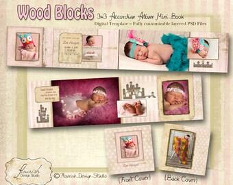 3x3 Mini Accordion Album template - Wood Blocks Baby Birth Announcement Album