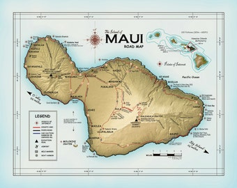 """The Island of Maui """"Atlas Inspired"""" Road map"""