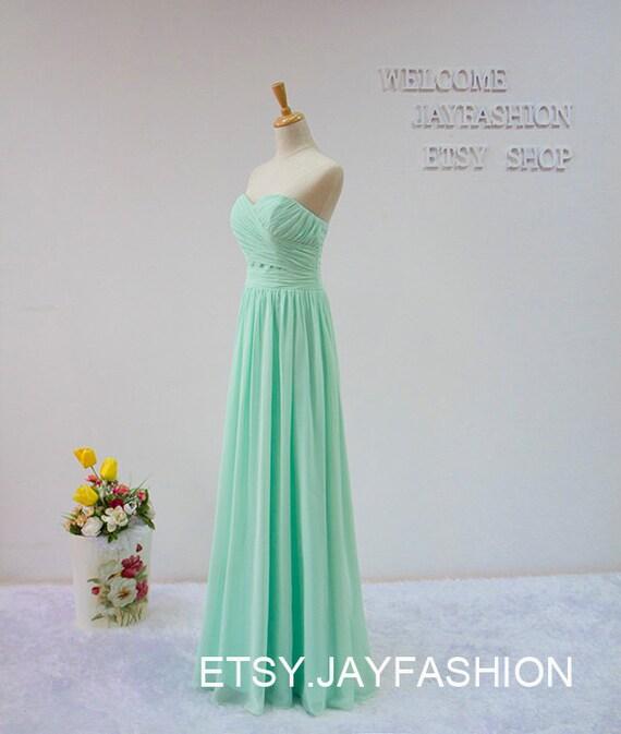 A-line Sweetheart long prom dress,Mint Green fashion bridesmaid dress,chiffon prom dress,formal evening dress Cheap homecoming dress