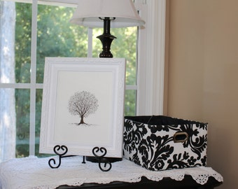 """Original Tree Art in 11"""" by 13"""" white frame """"Small Tree"""""""