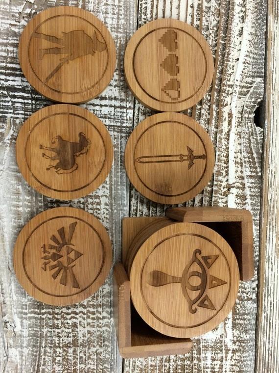 Legend Of Zelda Custom Wood Coaster Set Round By Letsengraveit