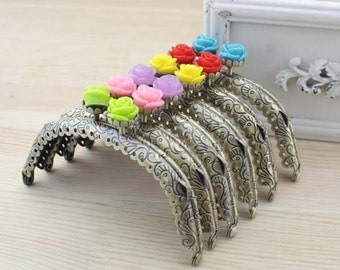 1 PCS, 10.5cm / 4.2 inch Curved Solid Flower Floral Bubble Bronze Kiss Clasp Lock Purse Frame, C52
