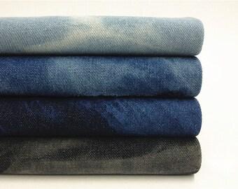 145cm / 57 inch Width, 10 OZ Thick Dyed Blue Gallery Washed Denim Fabric, Half Yard