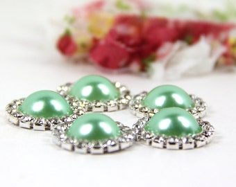 """Green Pearl Buttons - 5 """"Soft Tropic Green"""" Buttons With Brilliant Clear Surrounding Rhinestones 21mm, Green Buttons, Green Pearls, Crystal"""