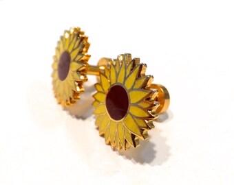 10g Sunflower Plug Earrings