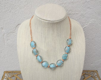 Turquoise Glass Bead Necklace with Copper Accents and Magnet Clasp - Free Shipping