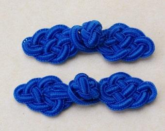 Blue frog closure. Celtic knot. Set of 2