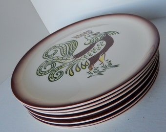 Brock of California Hand-Painted Chanticleer Rooster Ceramic Pottery Dinner Plate - Set of Seven - Mid Century