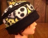 Skeleton Fleece Pill Box Cloche Chemo reversible Hat