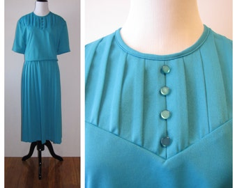 Vintage 1980s Teal Pleated Day Dress