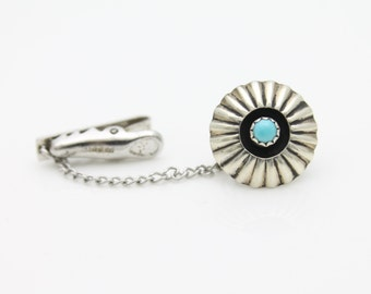 Vintage Southwest Turquoise Tie Tack and Clasp. [3063]