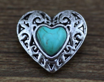 Silver and Turquoise Heart NOOSA Chunk Charm Snap It Charm