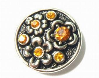 1 PC Amber Rhinestone Flower Antique Silver NOOSA Chunk Snap It Charm ~ Interchangable