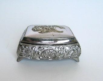 Vintage Little Silver Trinket / Jewelry Box lined in Red Velvet