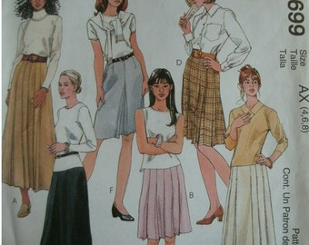 Misses Skirts in 2 Lengths Size 4-6-8 McCalls Fashion Basics Pattern 9699 MINT UNCUT Pattern Dated 1998