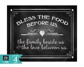 Bless The Food Before Us-Blessing thanksgiving or wedding sign - FOUR sizes - instant download digital file - Rustic Collection