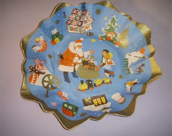 Vintage German Pulp Paper Christmas Bowl Santa Claus and children tree presents