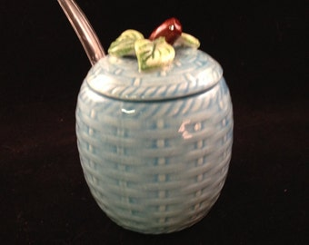 Vintage ESD Japan Light  Blue Basket Weave Ceramic Sugar Dish With Lid