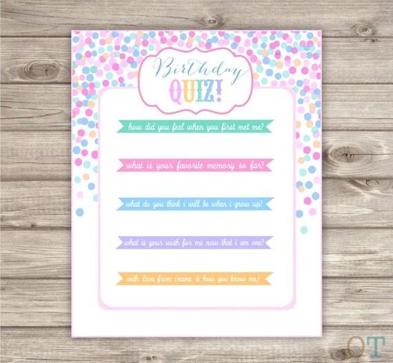 Items similar to INSTANT DOWNLOAD Quiz Confetti Birthday  ~ 220244_Birthday Party Ideas Quiz