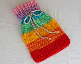 Rainbow Crochet Hot Water Bottle Cover Pattern