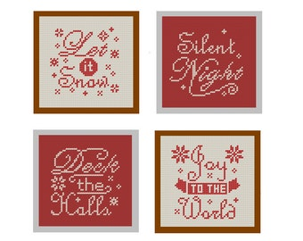 Modern Christmas Cross Stitch Pattern set of 4 Christmas Ornament Text Typography red DIY Home Decor tree decoration cards great gift