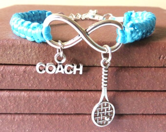 Tennis Coach Athletic Charm Infinity Bracelet Tennis Racquet Charm You Choose Your Cord Color(s)