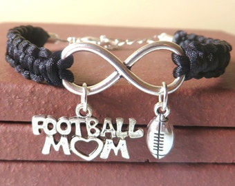 Football Mom Athletic Charm Infinity Bracelet Coach Charm You Choose Your Cord Color(s)