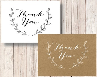 Printable Rustic Thank You Card INSTANT DOWNLOAD Wedding Thank You Card Kraft Thank You 4 Bar Thank You Shower