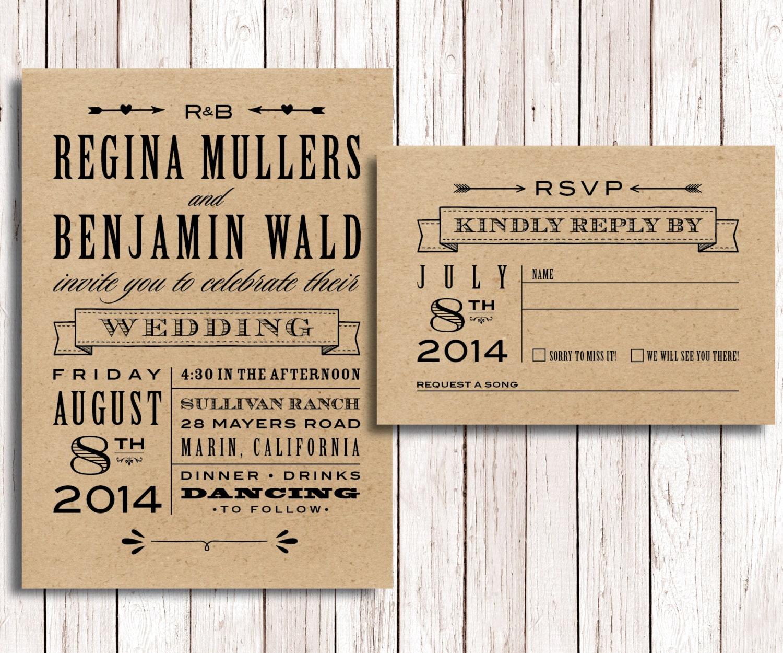Diy Kraft Paper Wedding Invitations: Kraft Paper Wedding Invitation And RSVP, DIY Wedding