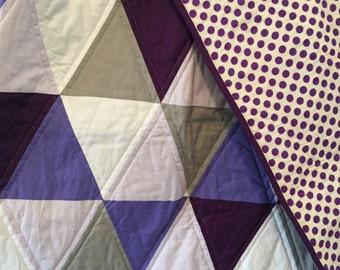 Purple Geometric Girls Cot Quilt