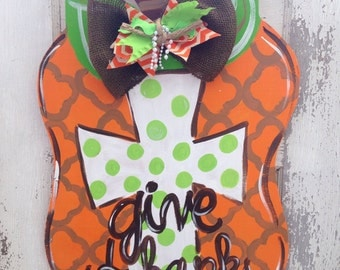 Cross Pumpkin Door Hanger