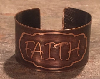Faith Etched Copper Cuff Religious Jewelry Inspirational Jewelry