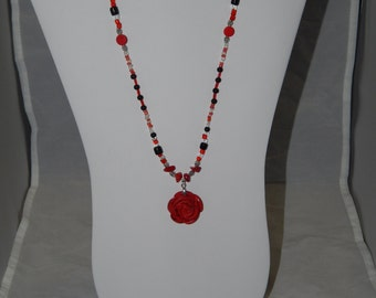Red Coral Rose Pendant Beaded Necklace